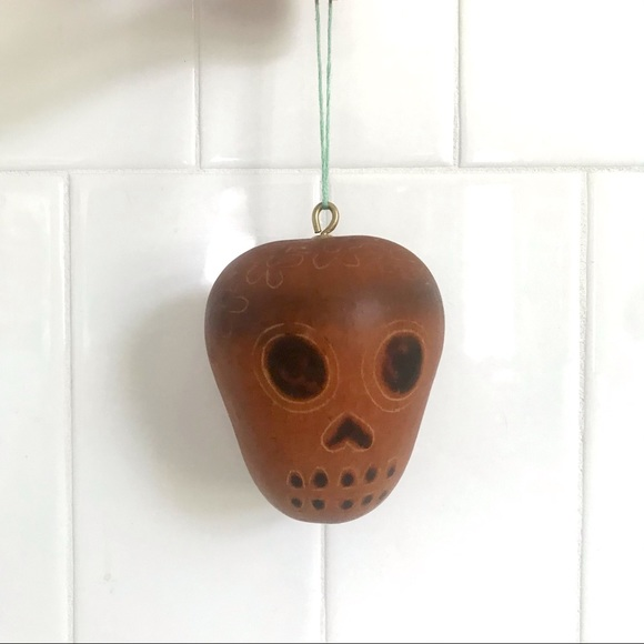 Vintage sugar skull wood burned gourd ornament art